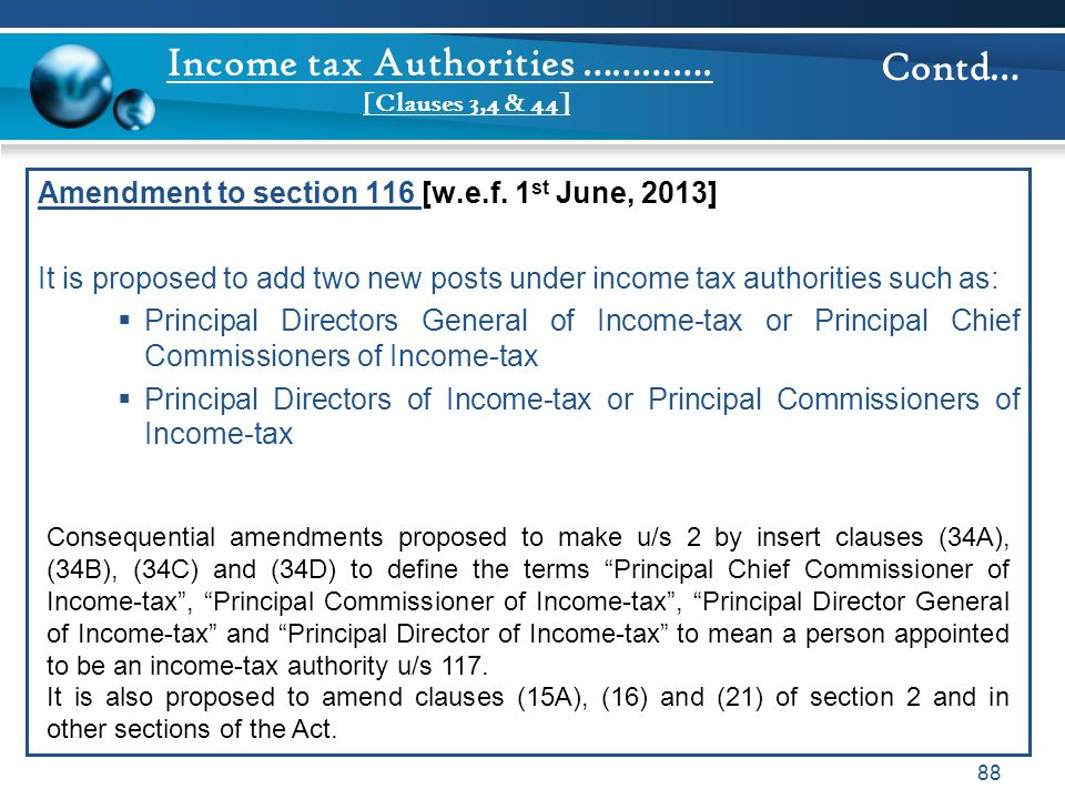 Income tax Authorities …………. [Clauses 3,4 & 44]